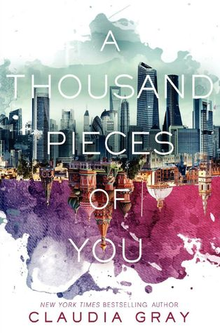 "A black-and-white city skyline, then a different city skyline upside down beneath it, in front of a swath of color. On top of it all, the words: ""A Thousand Pieces of You"""