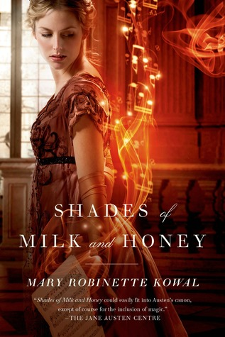 "A woman in a regency ball gown cloaked with lights, behind the words ""Shades of Milk and Honey"""