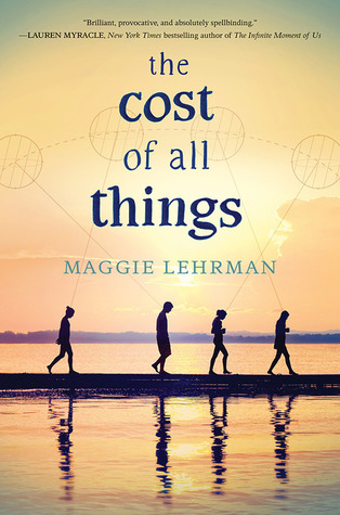 "Four people walking along a beach, silhouetted by a setting sun, under the words ""the cost of all things"""