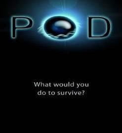 "YA sci-fi book cover: black page with ""POD"" in big blue letters, the blue being a black orb"