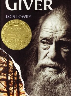 an old man staring into the distance, with a Newbery medal under the title