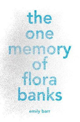 """The One Memory of Flora Banks"" in big blue letters over a cloudy gray background"