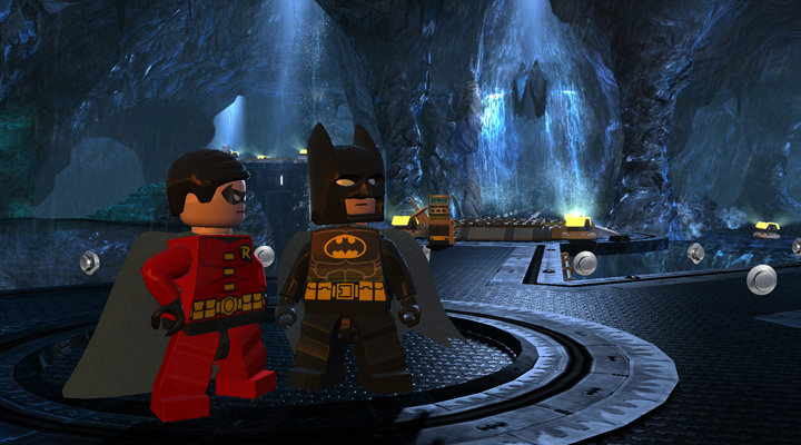 Lego Batman and Lego Robin in the Batcave
