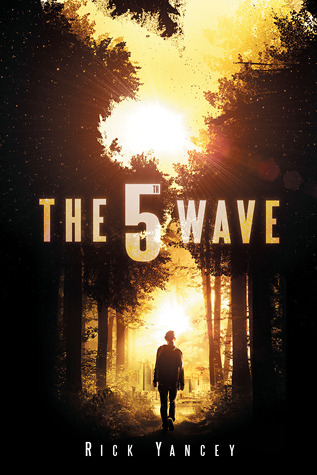 """The Fifth Wave"" in big letters, with a human figure silhouetted against a setting sun, walking toward that sun through a grove of trees."