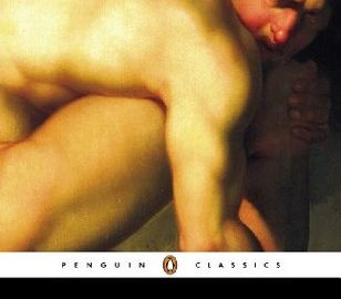 Frankenstein: The painting of a naked man, twisted so that only his back, right knee, and anguished face show.