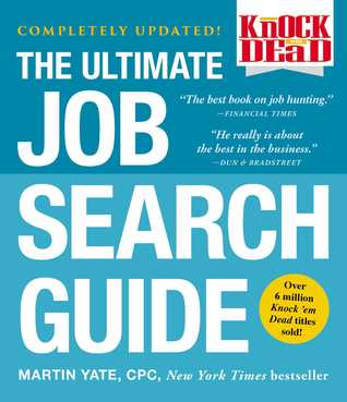 THE ULTIMATE JOB SEARCH GUIDE in white letters over a blue background.