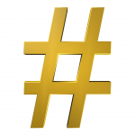 a golden hashtag
