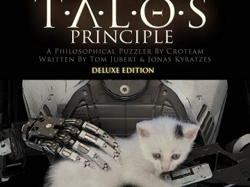 "The torso of a robot holding a white kitten, under the words ""The Talos Principle"""