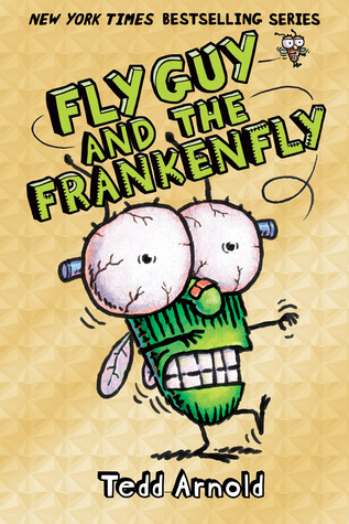 "In big green letters: ""Fly Guy and the Frankenfly"", with an illustrated green fly with bulging eyes and screws protruding from the sides of its head, walking with hands outstretched like a zombie,"