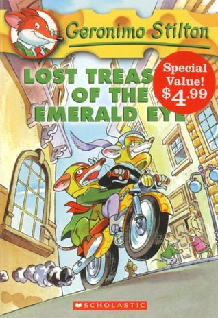 """Geronimo Stilton: Lost Treasure of the Emerald Eye"" above an illustrated mouse with a terrified expression on his face holds on to someone who's controlling the motorcycle he's riding."