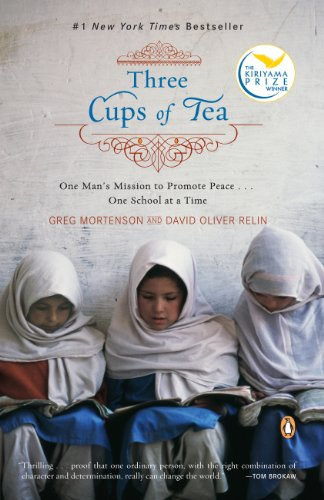 Three Muslim girls, with heads wrapped, read a book under the words: Three Cups of Tea: One Man's Mission to Promote Peace...One School at a Time""