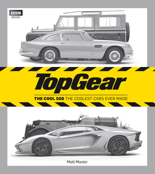 """Top Gear: The Cool 500 The coolest cars ever made"" in caution-tape yellow and black, over a grayscale compilation of various new and old luxury cars."