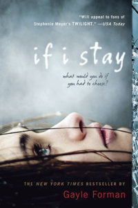 "face of a teenage girl looking up, towards the words ""if i stay"""