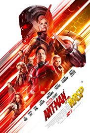 "Ant Man character, plus six supporting characters, staring off-screen on top of a red and yellow stripe, with ""Ant Man & The Wasp"" across the bottom"
