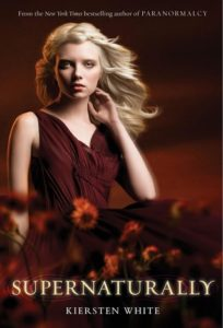 """young woman in red sleeveless dress, under the title """"Supernaturally"""""""
