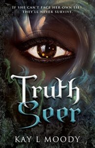"""A mysterious eye, set in a dark-skinned, painted face, over the title """"Truth Seer"""""""