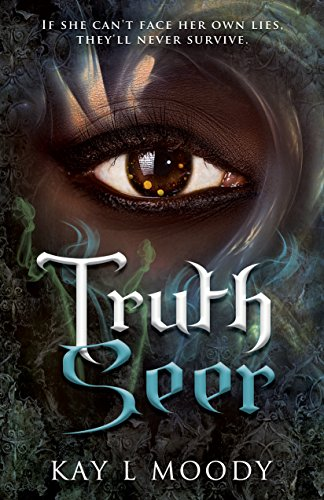 "A mysterious eye, set in a dark-skinned, painted face, over the title ""Truth Seer"""