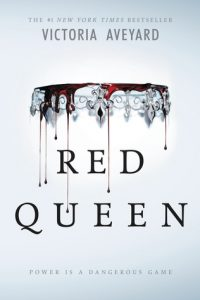 "A small glass crown, upside down, with blood dripping from it, dripping over the words ""Red Queen"""