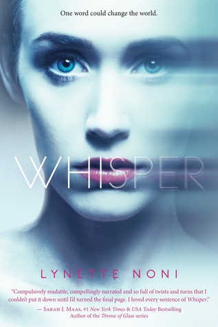 "A woman's face, with part of it blurred, staring. Over her lips is the word ""Whisper"""