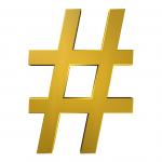 a golden hashtag