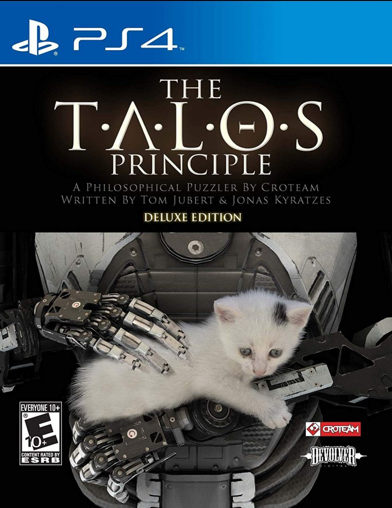 """The torso of a robot holding a white kitten, under the words """"The Talos Principle"""""""