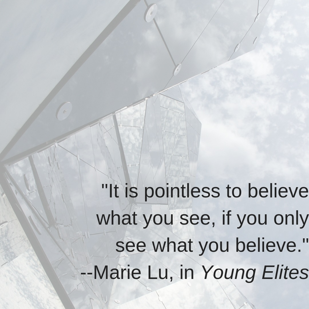 "Quote from Young Elites: ""It is pointless to believe what you see, if you only see what you believe."""