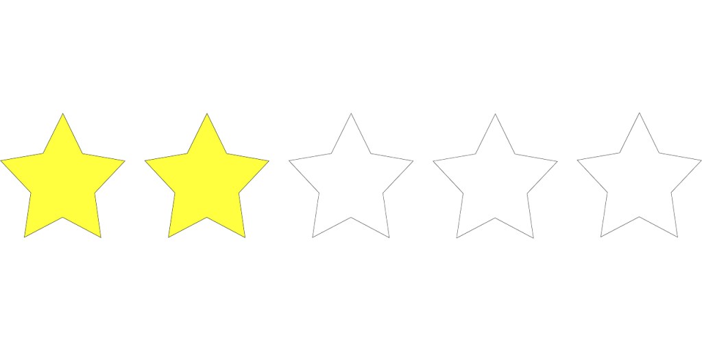 two stars in a five-star rating system