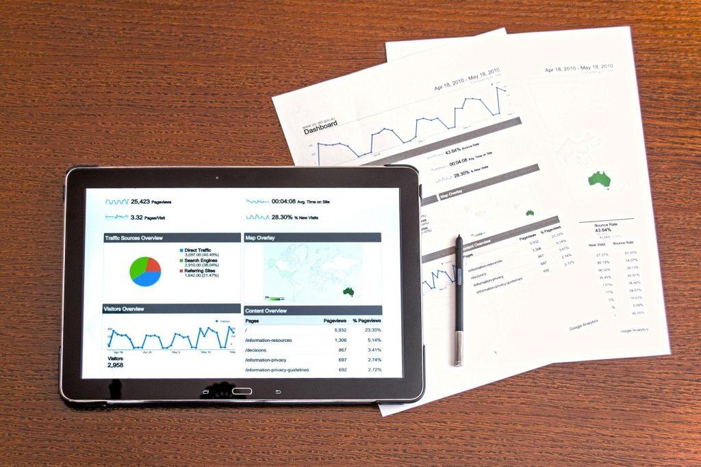 a printout of a website's analytics (charts and graphs)