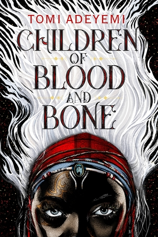 """Children of Blood and Bone"" across a mass of white hair"