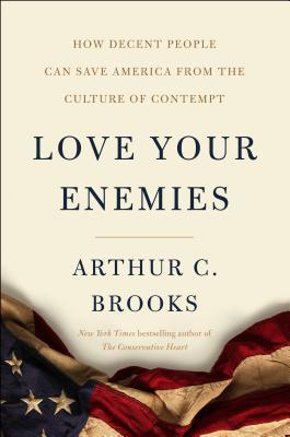 Cover of Love Your Enemies book, with a crumpled aged American flag at the bottom.