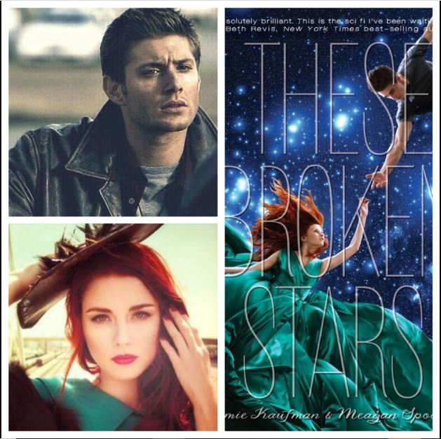 Cover of These Broken Stars books with the faces of two random celebrities that a Pinterest pinner thinks should play the lead characters.